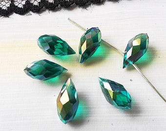 SWAROVSKI CRYSTAL PEARLS TASSEL 6X12MM (C6) AB LIGHT GREEN CRYSTAL DROP