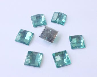 RHINESTONES to sew green square resin 12 x 12 mm RHINESTONE (H62) 6