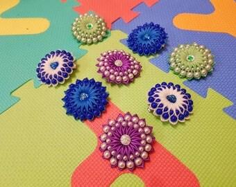 Girl white clip Blue hair bow Girl ribbon flower Baby pigtail bow Girl hair holder Set of infant bow Todddler hairbow lot