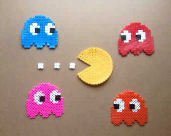 Pacman and Ghosts Hama Bead Coasters/Sprites