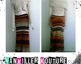 Fall Hippie Outfit Maxi Skirt Sweater Skirt Crop Top Cropped Sweater Off The Shoulder Vintage