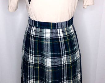 Vintage Long Wool Plaid Skirt