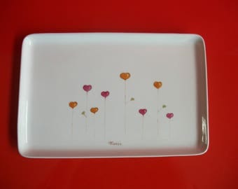 "Personalized porcelain rectangular dish decorated with hearts""flowers"""