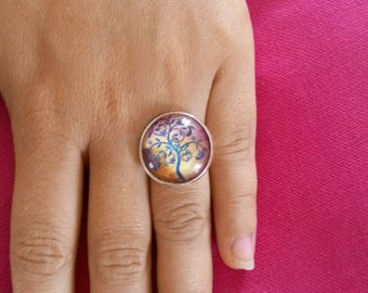 Tree glass cabochon ring