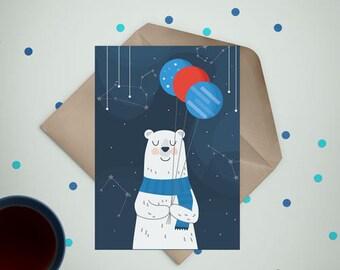 Space bear - digital stamp