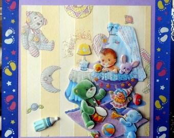 card 3D baby Teddy amid Park