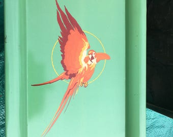 Vintage metal tray with parrot design/Metal Trays/Painted Metal Tray/Metal Serving Platters