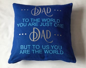 Dad To The  World Cotton Canvas Cushion