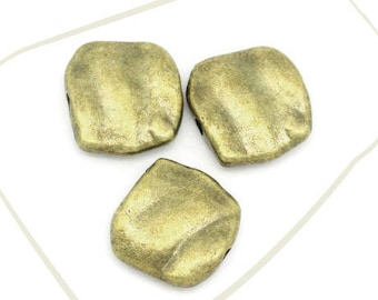 Set of 2 beads, alloy color bronze, 11 x 10 mm, hole 1 mm