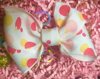 Girls White Bow with Pink and Yellow Polka Dots