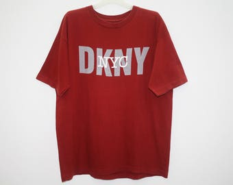 Donna Karan New York DKNY Spellout Red Cotton T Shirt
