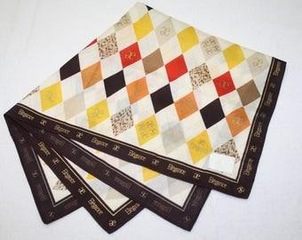 Elegance Paris Beige Colourful Diamond Design Handkerchief