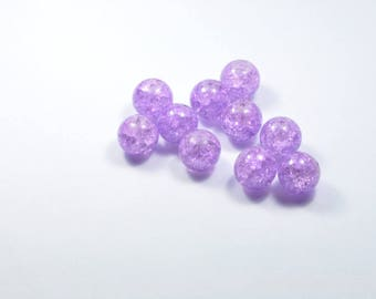 PE354 - Set of 10 Crackle glass beads Purple 12mm