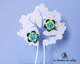 Earrings: small blue and yellow flowers