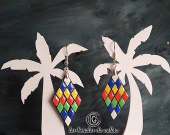 Earrings: diamonds in multicolor