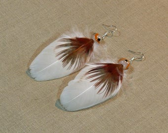 Red and white natural feather earrings