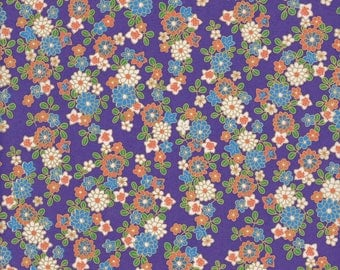 Paper Japanese 42.5x29 cm Chiyogami purple, white, orange, green flower pattern