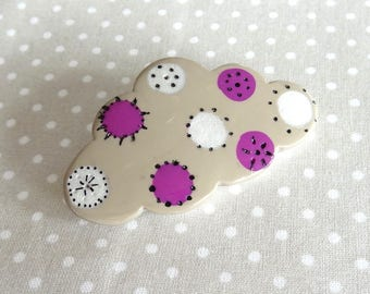 Taupe pink and white polymer clay brooch
