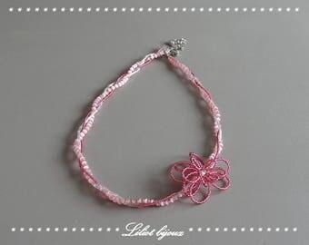 Original head jewel headband pink beads