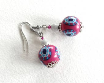 Earrings fuchsia, turquoise and Blue Navy
