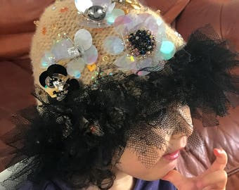 Ladies hat made of cashmere and silk tulle with Swarovski crystals handcrafted, unique