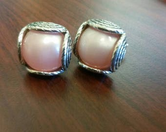 Silver toned and puffed pink stone cufflinks