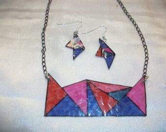 Gorgeous geometric and colorful set for this summer. hand made.