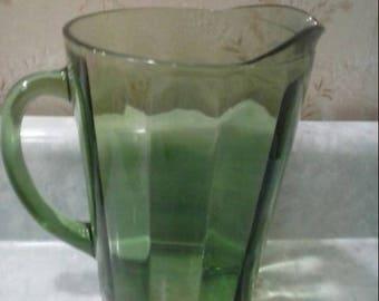 Antique Green Glass Water Pitcher