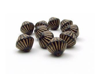 6 beads glass Czech bicone beads 11mm black and gold