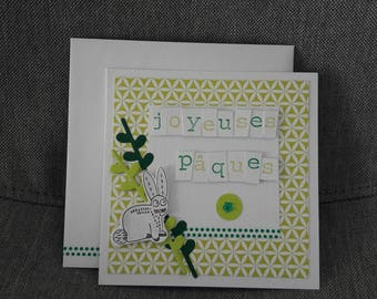 Green Easter Bunny card