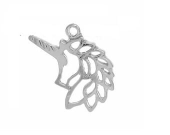 x 5 silver unicorn pendant charms