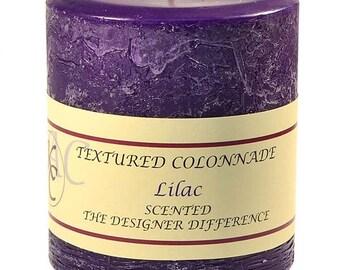Textured 4x4 Lilac Pillar Candles