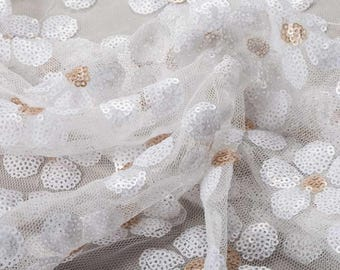 Daisy Sequin Polyester Mesh Fashion Upholstery Vintage Dress Craft Supplies Colour Style Design Fabric Sample Available