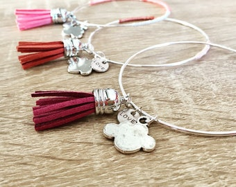 Bangle silver tassel and charms