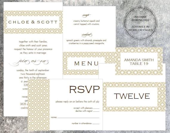 Digital invitation printable wedding invitation template mac stopboris Choice Image
