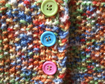 sleeves short girl knitted colorful hands and multicolored buttons