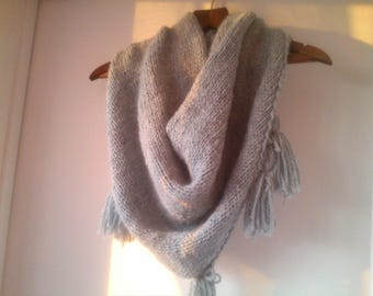 Wool shawl knitted by hand