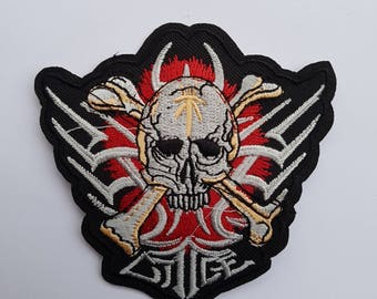 fusible embroidered patch, skull biker skull