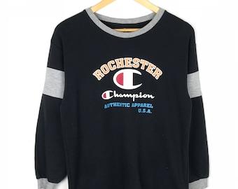 Rare!!! Champion Shirt Big Logo Spellout Pullover Multicolors Stripes Rochester