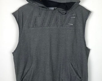 Rare!!! Nike Sleeveless Hoodie Pullover Spellout Small Logo Embroidery Double Pockets