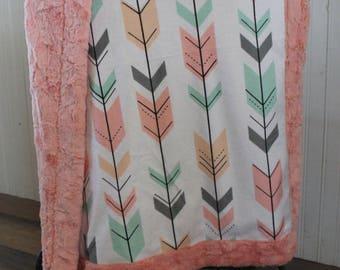 baby blanket, minky blanket, arrow blanket, girl blanket, desinger minky blanket, ready to ship, baby shower gift