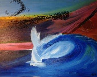 Murmuration (35x42cm) - Original Acrylic Wave Wall Art Painting