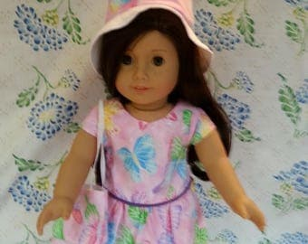 """Pink Butterfly Dress with Hat and Bag for 18"""" or American Girl Dolls"""