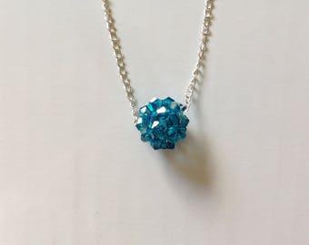 Blue iridescent Swarovski crystal ball necklace