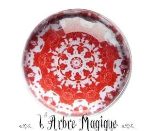 2 cabochons glue Mantra Mandala glass 14 mm - 5