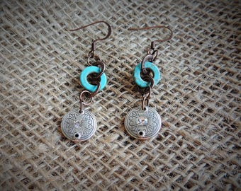 Turqouise and Silver Earrings, Turqouise Earrings, Silver Earrings