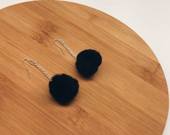 Medium Black Pom-Pom Earrings