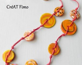 Summer orange polymer clay necklace
