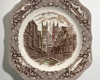 Johnson Brothers Old London England Westminster Abbey Decorative Plate Made in England Vintage