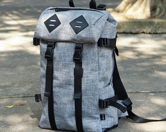 Panther Backpack, Leather bottom, high quality Nylon, large volume, Light Grey, , backpack men, laptop backpack, travel backpack